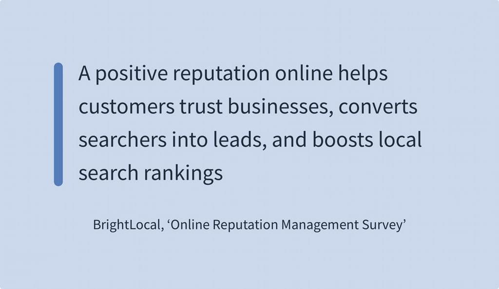 Et positivt online omdømme får brugerne til at stole på en virksomhed og konverterer dem til leads og booster lokale rangeringer