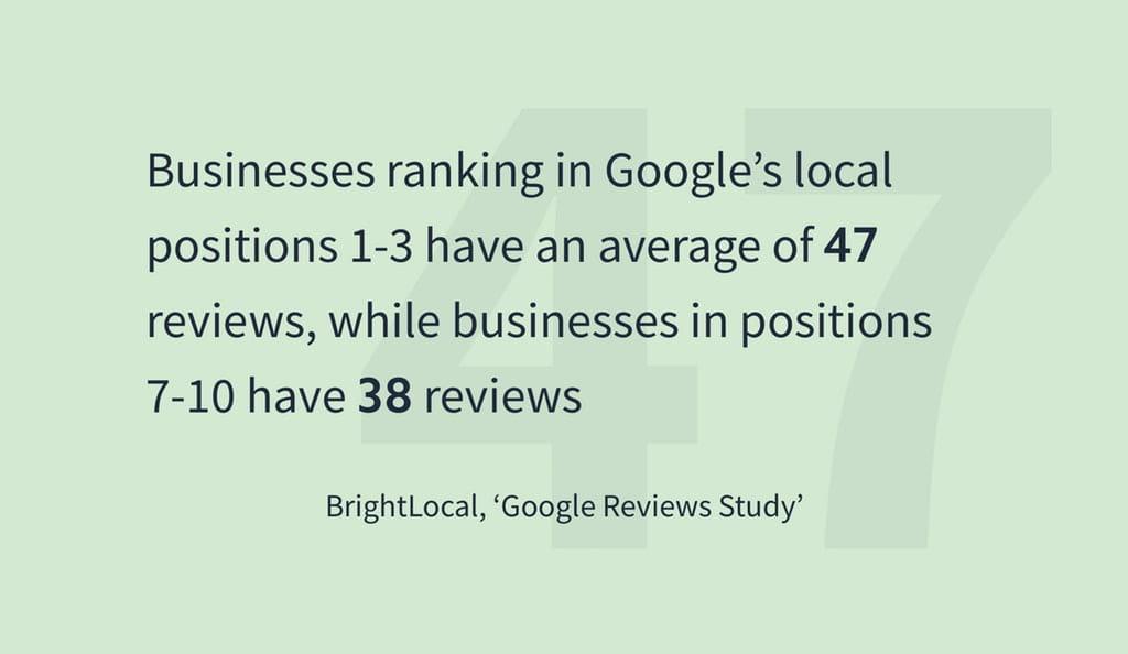 Forskel på antal anmeldelser for virksomheder, der ligger 1-3 og 7-10 i Googles lokale søgninger