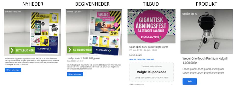 Eksempel på de fire typer Google My Business-indlæg - Elgiganten