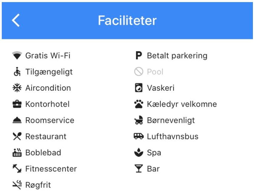 Google My Business - Faciliteter