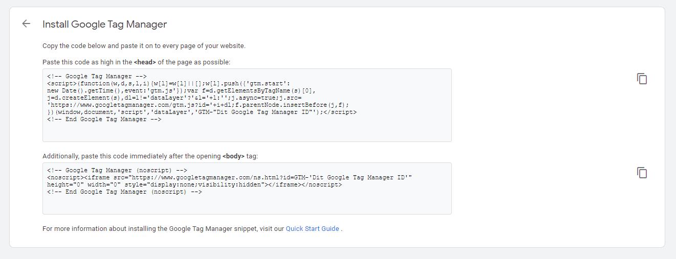 Implemnentering af GTM - Install Google Tag Manager eksempel