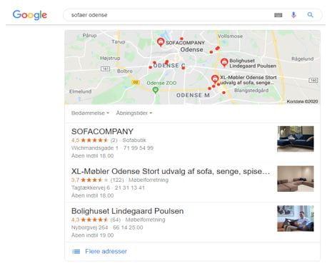 Eksempel på local 3-pack i Google