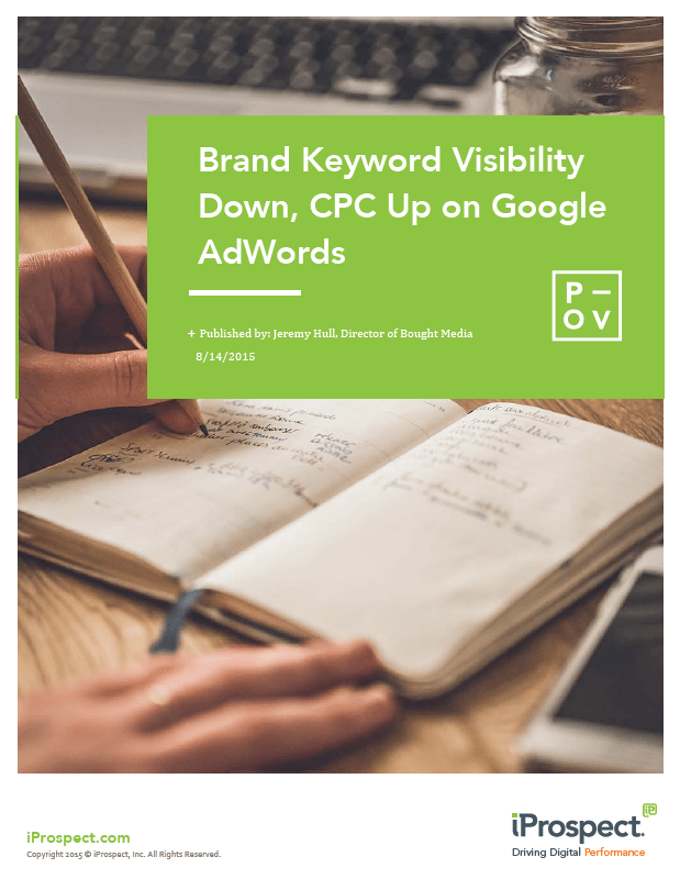 Brand Keyword Visibility Down CPC Up on Google AdWords cover