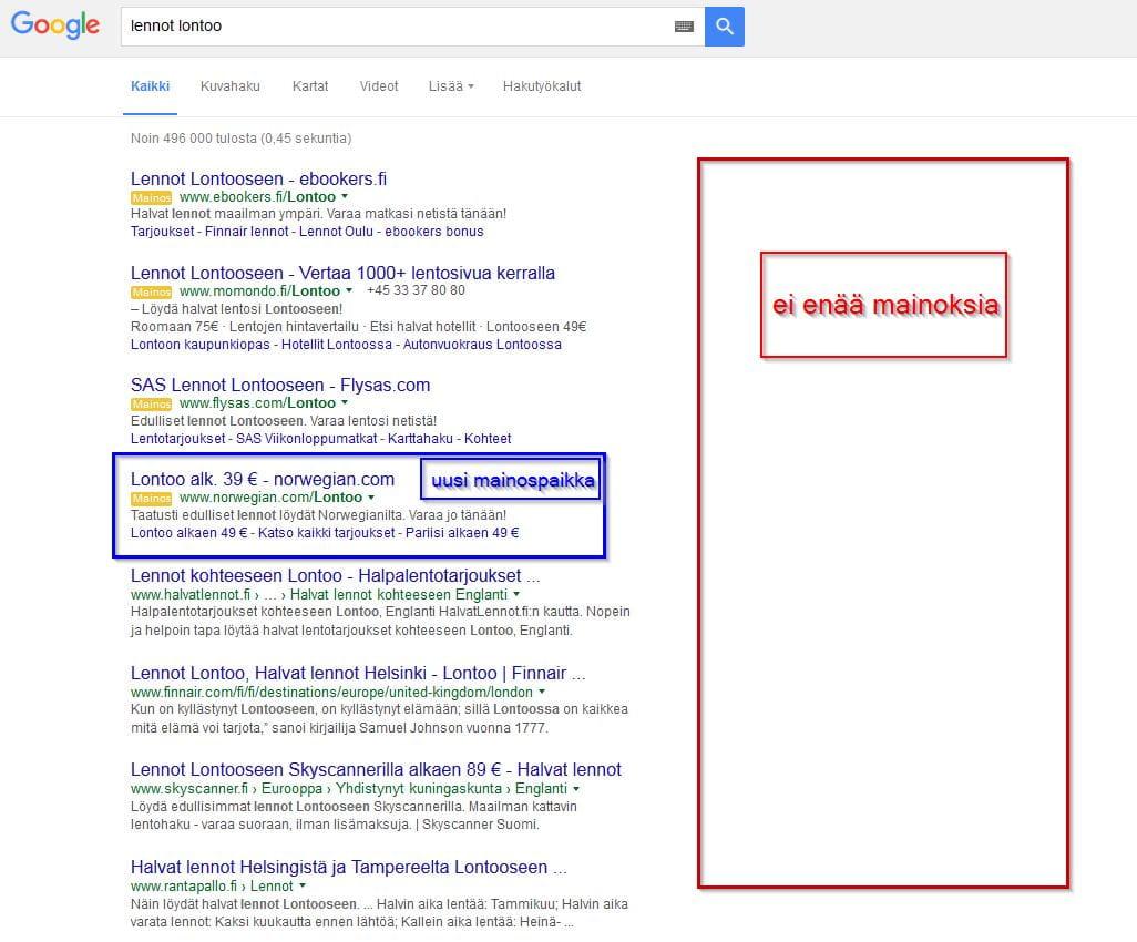 Google hakutuloksien muutos 2016