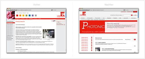 grafische Gegenüberstellung von alter und neuer Photonic News-Seite