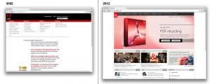 Gegeneinanderstellung der Adobe Website aus den Jahren 2002 und 2012