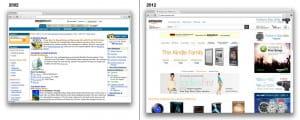 Gegeneinanderstellung der Amazon Website aus den Jahren 2002 und 2012