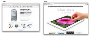 Gegeneinanderstellung der Apple Website aus den Jahren 2002 und 2012