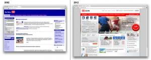 Gegeneinanderstellung der Deutsche Bahn Website aus den Jahren 2002 und 2012