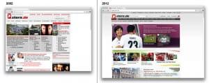 Gegeneinanderstellung der Stern Website aus den Jahren 2002 und 2012
