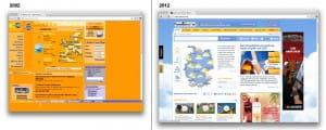 Gegeneinanderstellung der Wetter.com Website aus den Jahren 2002 und 2012
