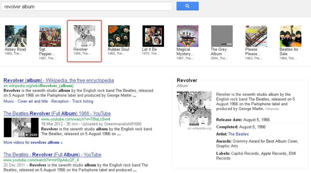 Slider für die Alben der Beatles