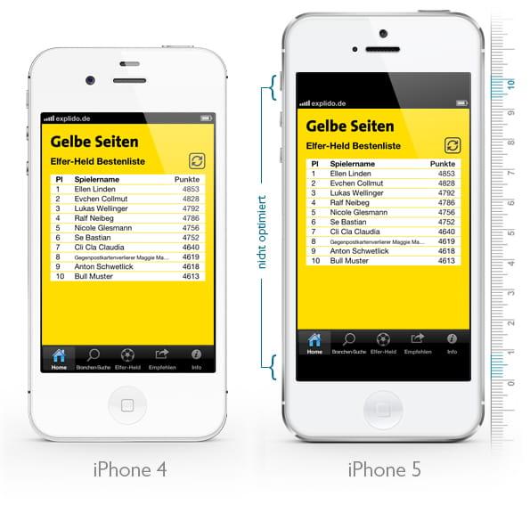 Für das iPhone 5 nicht optimierte App