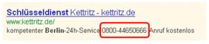 Desktop-PC/Tablet Anzeige mit Telefonnummer im Text