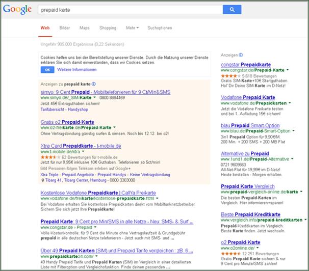 Google-Suchergebnisseite altes Design