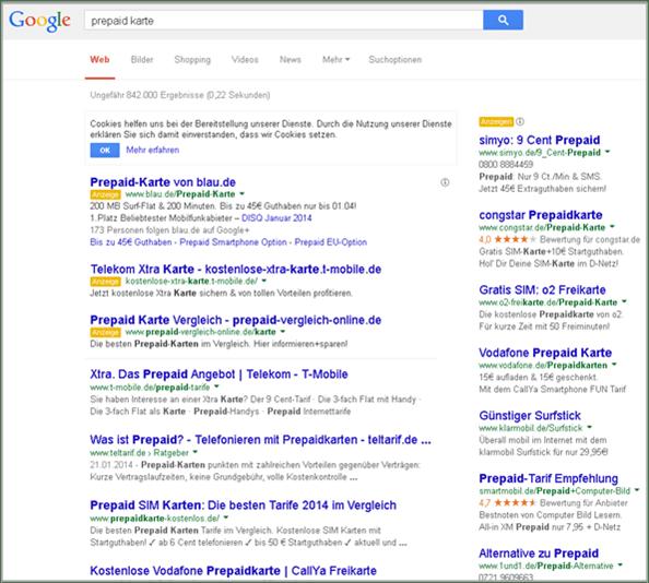 Google-Suchergebnisseite neues Design