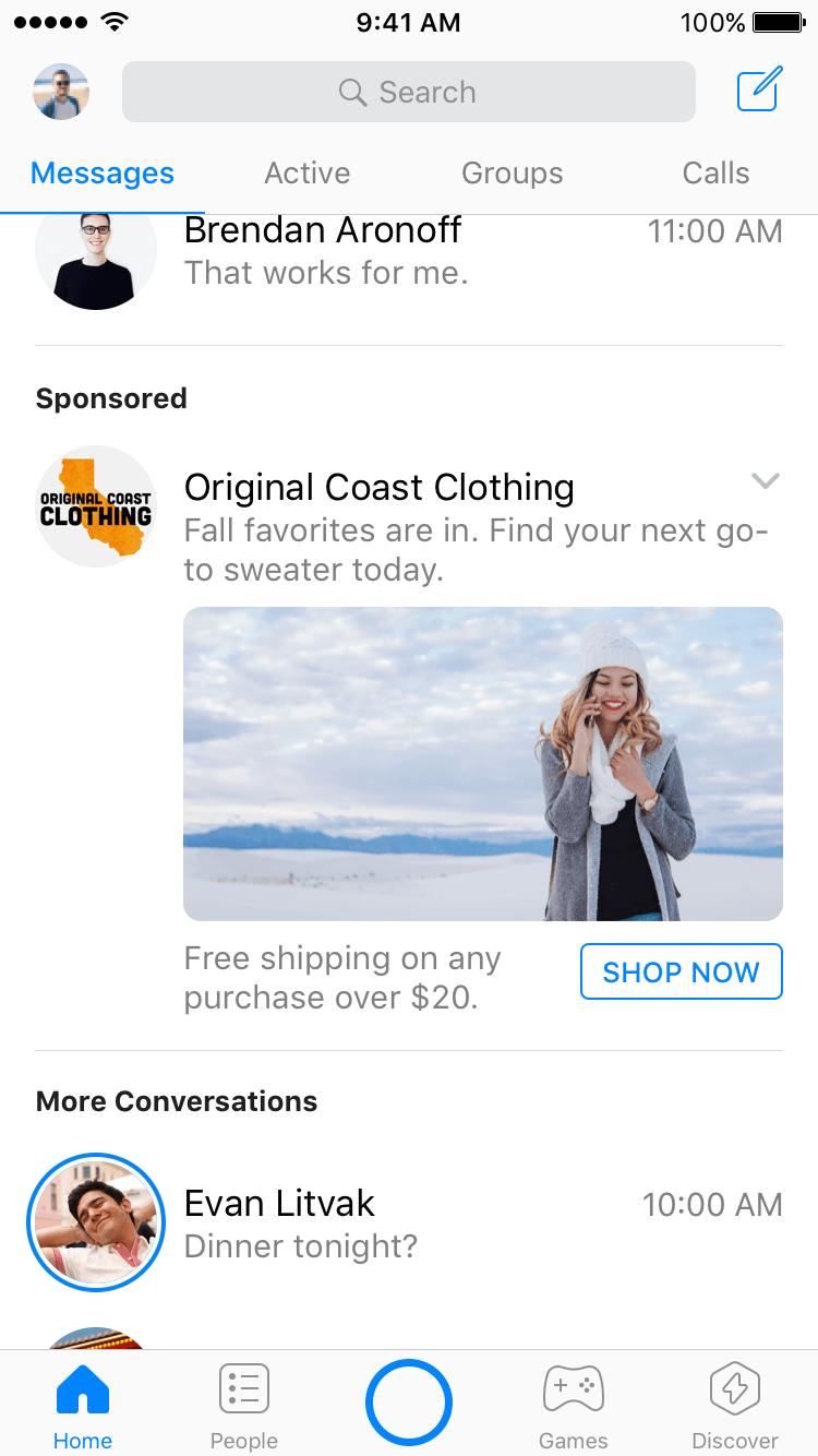 Eksempel på annonse i Messenger