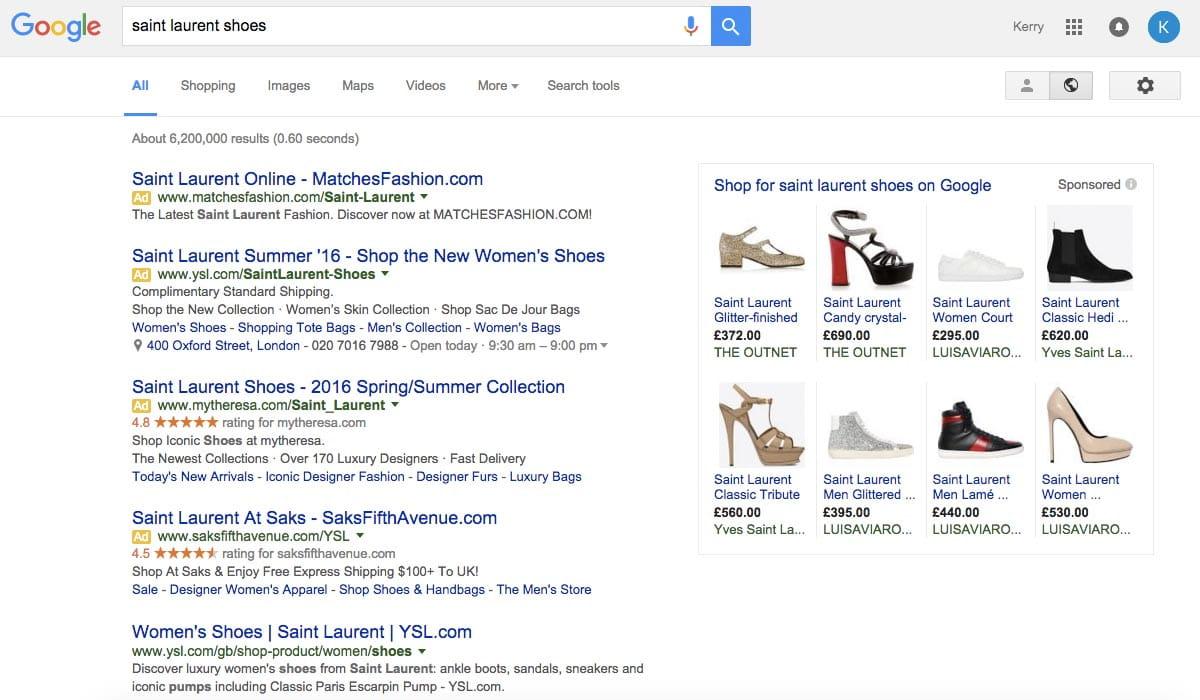 Cambios en los resultados de pago de google
