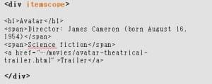 microdatos ejemplo código microformato