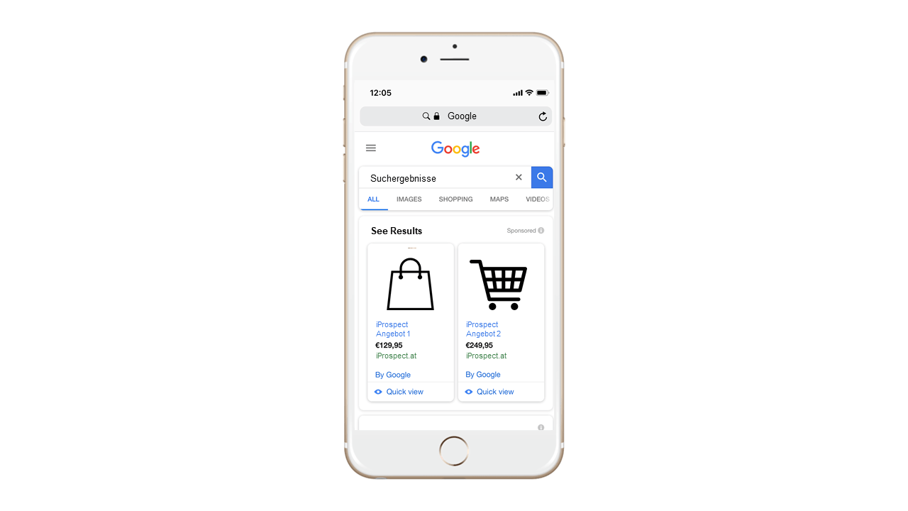 google shopping, mock up