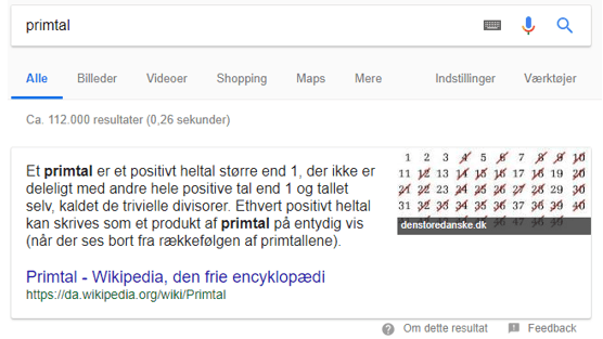 Eksempel på featured snippets