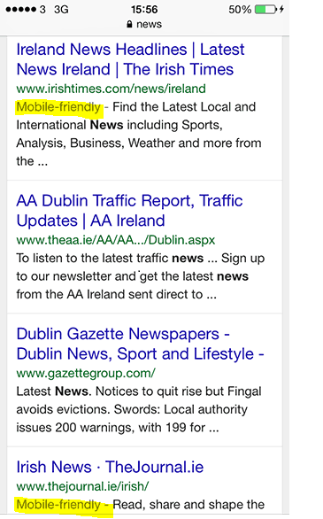 technical mobile seo mobile friendly in serp