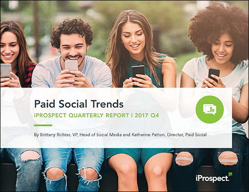 Cover page of the iProspect Paid Social Trends Q4 2017 report