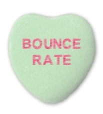 a green candy heart saying bounce rate