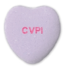 a purple candy heart saying CVPI